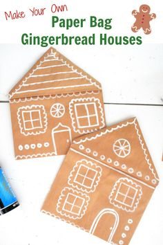 Paper Bag Gingerbread Houses Craft for Kids. Simple gingerbread craft for kids to create using a paper bag.   #kidscrafts #gingerbread #christmascraft #kids #craft Gingerbread Man Activities, Preschool Christmas Activities, Christmas Crafts For Kids To Make, Craft Activities For Kids, Preschool Crafts, Kids Christmas, Christmas Stuff, Kids Crafts, Merry Christmas