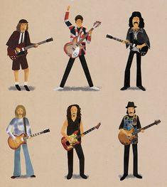 Un trabajo de Maxim Dalton que ilustra los grandes guitarristas de todos los tiempos. En este cartel se representa a: Frank Zappa, George Harrison, Slash, Jimi Hendrix, Keith Richards, Jimmy Page, Stevie Ray Vaughan, Eric