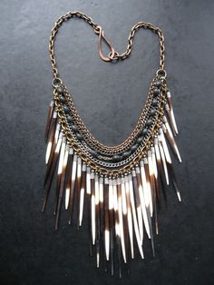 Porcupine Quill Bib Necklace - Antique Rosary Beads and Tribal Fringe - Ceremony.
