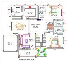 40x60 House Plans, Bungalow Floor Plans, Home Design Floor Plans, House Floor Plans, Little House Plans, Free House Plans, House Layout Plans, House Layouts, 4 Bedroom House Designs