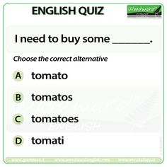 Woodward English Quiz 186 I need to buy some ____. English Quiz, English Grammar, Learn English, Grammar Quiz, Grammar And Vocabulary, Woodward English, Ielts, Quizzes, Knowledge