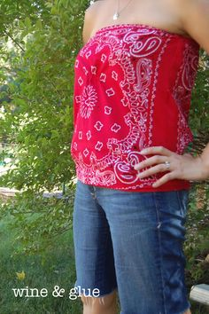 Easy 4th of July Bandana top, a simple project a beginning sewer can tackle!  from Wine & Glue
