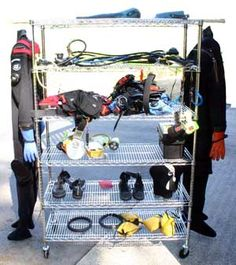 scuba gear rack idea for washing , drying and storage.