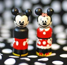 Mickey and Minnie Mouse Peg Dolls, FREE SHIPPING, Limited Time Only! on Etsy, $18.00