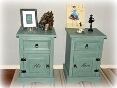 Bedside Tables Large Shabby Chic Duck Egg by CecilysHumbleHome, £140.00