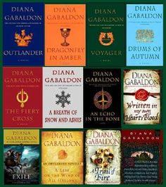 Books in order are: Outlander, Dragonfly In Amber, Voyager, Drums of Autumn, The Fiery Cross, Breath of Snow and Ashes, An Echo in the Bone, Written in My Own Heart's Blood. Companions shown are: The Exile, A leaf on the Wind of All Hallows, A Trial of Fire, An Outlandish Companion