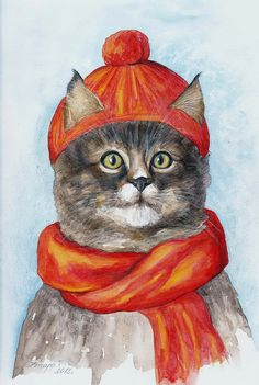 Cat  lovely cat  picture red cap brown cat winter by TatianaArt