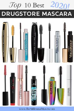 My Top 10 favorite mascaras from the drugstore! These are the best drugstore mascaras available in 2020 so you can save money on makeup! Best Drugstore Mascara, Best Mascara, Mascara Review, Drugstore Makeup Dupes, Beauty Dupes, Revlon Makeup, Elf Dupes, Eyeshadow Dupes, Lipstick Dupes