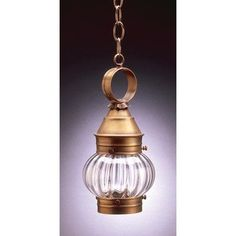 Northeast Lantern Onion 1 Light Outdoor Hanging Lantern Finish: Dark Brass, Shade Type: Optic