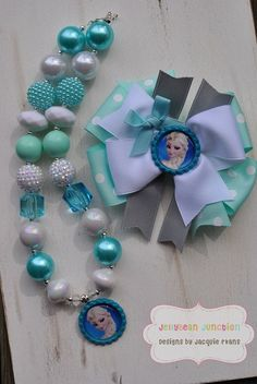 Elsa FROZEN Inspired Accessory Set - JellyBead Collections - Birthday Necklace - photo prop - Elsa and Anna Necklace - Frozen Hairbow on Etsy, $8.99 by barbara.stone