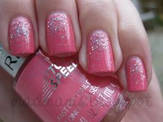 Gradient Glitter Manicure ~ with the sparkles on the bottom of the nails rather than the tips, by MaD Manis