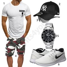 Summer style for men with camouflage shorts Mens Boots Fashion, New Mens Fashion, Tomboy Fashion, Mode Man, Camouflage Shorts, Chic Summer Style, Outfits Hombre, Casual Wear For Men, Neue Outfits