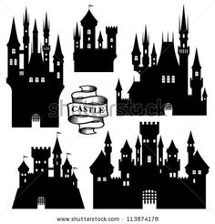 Find Vector Set Castle Silhouette stock images in HD and millions of other royalty-free stock photos, illustrations and vectors in the Shutterstock collection. Disney Castle Silhouette, Fairy Silhouette, Silhouette Vector, Hogwarts Silhouette, Silhouette Painting, Paper Art, Paper Crafts, Dyi Crafts, Diy Paper