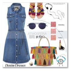 """Denim dress"" by jan31 ❤ liked on Polyvore featuring Bebe, Elina Linardaki, Mykita, AIAIAI, TheBalm, Gucci and Victoria Beckham"