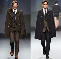 The Emperor 1688 2014-2015 Fall Autumn Winter Mens Runway Looks - Fashion Forward Dubai UAE United Arab Emirates - Outerwear Cape Trench Coat Topcoat Overcoat Long Hunting Riding Coat Suit Blazer Double Breasted Necktie Furry Ornamental Print Decorative Art Architecture Kaleidoscope Motif Zipper Checks Tuxedo Cocktail Jacket