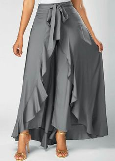 Faldas Mujer Moda Grey Side Zipper Tie Front Overlay Pants Ruffle Skirt Bow Long Skirt Jupe Femme Color Black Size S Fashion Pants, Look Fashion, Hijab Fashion, Fashion Dresses, Womens Fashion, Fashion Tips, Rock Dress, Skirt Outfits, Cute Outfits