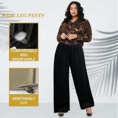 【Mother's Day Promotion-50% OFF】Ice Silk Wide Leg Pants Women – buymorex Flowy Pants, Silk Pants, Pleated Pants, Women's Pants, Ankle Length Pants, Wide Leg Pants, Perfect Curves, Lace Tops, Summer Wear