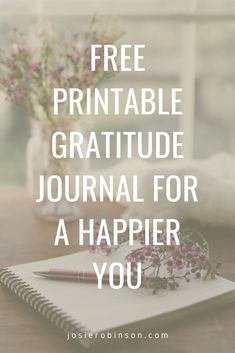 Get this FREE beautiful Printable Gratitude Journal to add more joy and positivity to every day. #gratitudejournal #journalideas #gratefulheart Gratitude Journals, Gratitude Jar, Attitude Of Gratitude, Journal Template, Happy A, Grateful Heart, Self Improvement, Free Printables, Healing