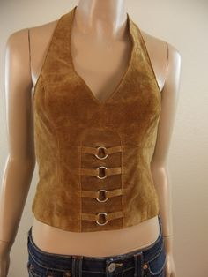 Wilsons Suede Leather Halter Top Size Small by ShopVintageStyles, $20.00