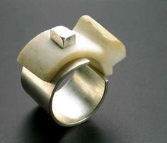 Rana Mikdashi. Ring: Puzzle 01, 2003. Silver 925, bone. ? 1,8 x 2, 95 cm. Photo…