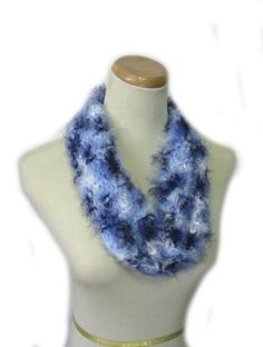 Gift for Her Blue Cowl Hand Knit Cowl Circle by ArlenesBoutique