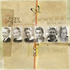 family history layout inspiration scrapbook page the many stages of your journey Scrapbook Designs, Scrapbook Page Layouts, Scrapbook Supplies, Scrapbook Titles, Scrapbook Journal, Scrapbook Sketches, Heritage Scrapbook Pages, Vintage Scrapbook, Couple Scrapbook
