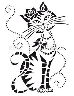 GATA cat art artwork drawing chat kitty cat feline black and white art female feline her
