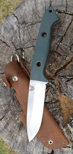 Benchmade Bushcrafter Fixed Knife Blade Includes Brushed Full-Grain Buckskin Leather Sheath w D-Ring, Flint Rod Loop and Retention Strap