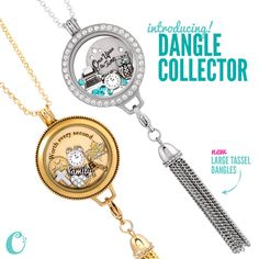 SNEAK PEEK! *New* Dangle Collectors from Origami Owl! The Dangle Collector fits perfectly behind your Large Living Locket. The chain slides through both sets of loops + your *favorite* Dangles swing happily from the bottom!