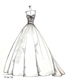 fashion drawing weddinng dress illustration by dresssketch on Etsy - Wedding Dress Sketches, Dress Design Sketches, Fashion Design Drawings, Sketch Design, Fashion Sketches, Wedding Drawing, Dress Illustration, Fashion Sketchbook, Designs To Draw