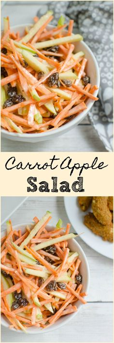 Carrot Apple Salad - sliced carrots and apples with raisins in a sweet and tangy dressing! So easy and so delicious! My kids love this! #FarmRichSolutions #ad https://www.pinterest.com/farmrichsnacks/