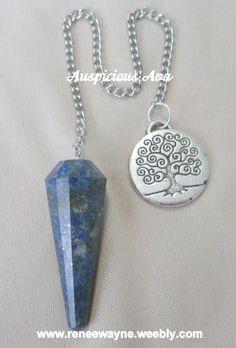Custom Lapis Lazuli pendulum with tree of life charm - www.reneewayne.weebly.com