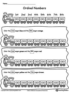 Color the correct train wagon based on the ordinal numbers provided in this math printable worksheet.