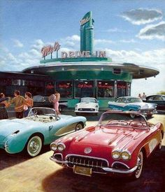 A drive-in restaurant was a new and casual way to eat fast and hang out with friends. This development came with the rise in popularity of the car. These drive-in restaurants helped shape our American culture of food. Retro Cars, Vintage Cars, Retro Vintage, Vintage Style, Pompe A Essence, Aesthetic Vintage, 1950s Aesthetic, Diner Aesthetic, Vintage Vibes