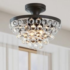 The Lighting Store Vanessa Black/Crystal Iron/Metal Flush Mount Ceiling Fixture (Black, Flush Mount Chandelier, Crystal Balls) Flush Mount Chandelier, Flush Mount Lighting, Flush Mount Ceiling, Chandelier Lighting, Luxury Chandelier, Crystal Sphere, Lighting Store, House Lighting, Entry Lighting