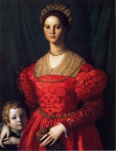 Portrait of a Woman and Her Little Boy, Bronzino, ca 1540