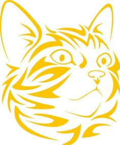 Tribal Cat Face looking right vinyl decal