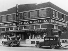 The storefront of a Sears, Roebuck and Co. store is seen in El Paso, Texas, circa 1940.