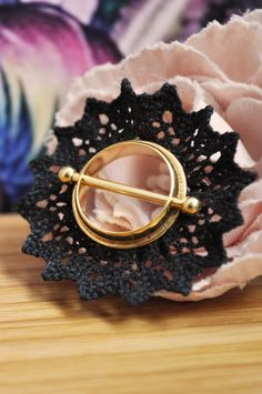 Adoring Tattoo style Gold Plated Nipple Piercing with Bold Black Lace by BoobieJewelry on Etsy https://www.etsy.com/listing/232208755/adoring-tattoo-style-gold-plated-nipple