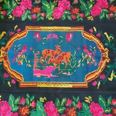 What a joy! Very beautiful vintage rug with deers and birdd, nature scenery an a rich floral background with gorgeous roses . Can be used as a rug, tapestry or bed cover, made about 60-70 years ago. Wool Carpet, Rugs On Carpet, Vintage Rugs, Vintage Items, Handmade Items, Handmade Gifts, Rug Making, Romania, Wool Rug
