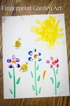 Fingerprint Garden Art. Celebrate spring and summer with sweet thumb and finger print art that kids love and helps with fine motor skills!