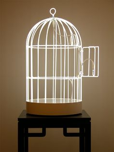 Neon Swing & Bird Cage by Su Mei Tse swings sculpture neon