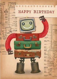 Paulo Viveiros: ephemera more there! Happy Birthday Vintage, Happy Birthday Boy, Birthday Poems, Happy Birthday Images, Happy Birthday Greetings, Funny Birthday Cards, Birthday Greeting Cards, Retro Birthday, Retro Robot