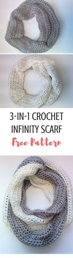 Wear this infinity scarf 3 ways and you're ready to pair with any outfit! Get the free crochet pattern here! #shrugsandcowls