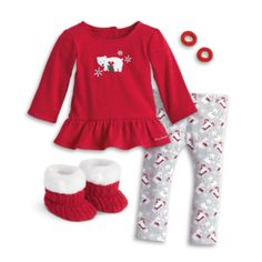 Cute and cuddly, fun and festive—these PJ's will have dolls looking their sweetest on chilly winter nights. The outfit includes: •A red heathered top with a ruffled hem for a fancy touch, and a glitte