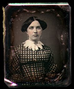 1835 Dag of a lady, unusual lace collar on a young lady, wild print dress, and great jewelry