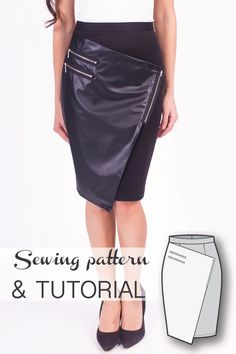 7d0b5d6f19fb Wrap Asymmetric Skirt Sewing Pattern and Sewing Tutorial Plus Size Sewing  Patterns, Skirt Patterns Sewing
