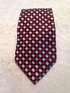 Jhane Barnes Neck Tie Black With Red Gray Polka Dots #JhaneBarnes #NeckTie