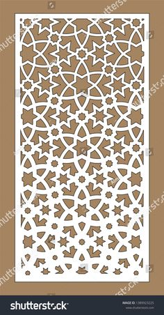 decorative vector panel for laser cutting. Template for interior partition in arabesque style. Islamic Art Pattern, Arabic Pattern, Pattern Art, Stencil Templates, Stencils, Glass Partition Designs, Laser Cut Panels, Arabesque, Airbrush