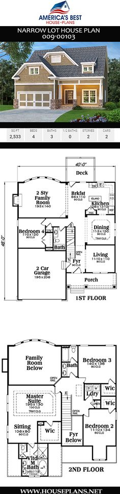 Narrow Lot House Plan - Rebel Without Applause Narrow Lot House Plans, Best House Plans, Farm House Colors, Second Story, Living Room Pictures, Large Homes, Formal Living Rooms, Living Room Modern, Open Floor
